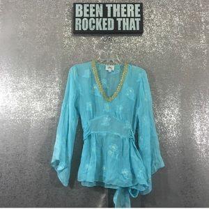 Milly silk tie back metallic blouse gold trim